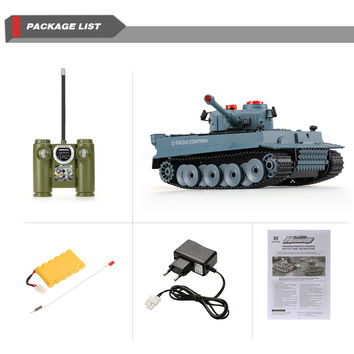 HUAN QI 518 124 Scale German Tiger Infrared Fighting RC Battle Tank with Sound and Lights RC Tank Toys RC Remote Control Tank SM6
