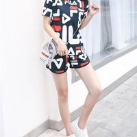 Women Casual Fashion Letter Star Print Short Sleeve Shorts Set Two-Piece Sportswear