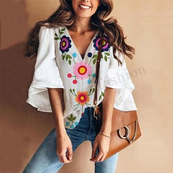 Women Bell Sleeve Floral Print Boho Casual Loose Fashion Tee Top T Shirt Blouse
