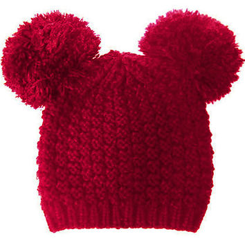 Mickey Mouse Double Pom Pom Beanie Hat - Burgundy