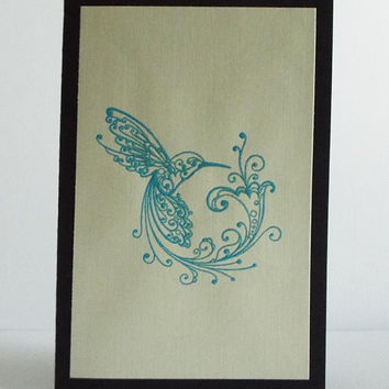 Greeting Card, Blank, Humming Bird, Happy Birthday Card, Wife, Girlfriend, Husband, Boyfriend, Modern, Linen, Special, Occasion, Card, Gift
