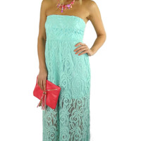 Strapless Lace Open Back Maxi Dress - Mint