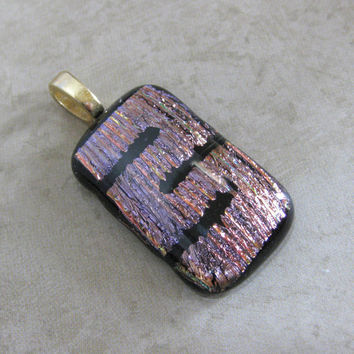 Dichroic Glass Pendant, One of a Kind Fused Glass Slide - Dramatic Impact by mysassyglass