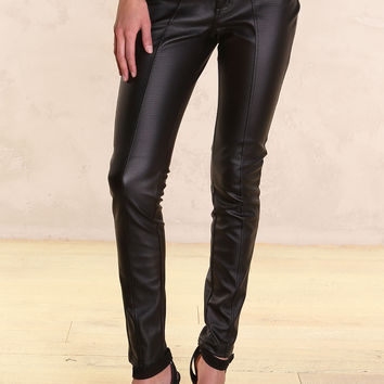Makeba Vegan Leather Black Ponte Pant