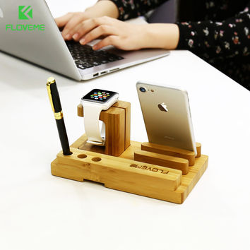 FLOVEME Natural Wood Phone Stand Holder For iPhone 6 6S 7 5S SE Smart Charging Dock For iWatch Desktop Tablet Holder For iPad