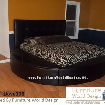 "Modern Style Round Bed ""Dove 06""  with 2 sides storage"
