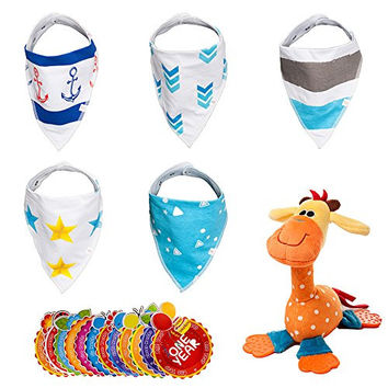 Best Baby Bib Set by NinoStar-Complete Pack of 5 Bandana Drool Bibs, 1 Stuffed Giraffe Plush Toy,12 Monthly Milestone Stickers Infant Snap-on Drooling Towels-Perfect Baby Shower Gift for Boys or Girls
