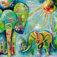 Mama and Baby Elephant - Giclee - Wall Decor - Colorful Art Print - Archival Print - 8x8 - Elephants