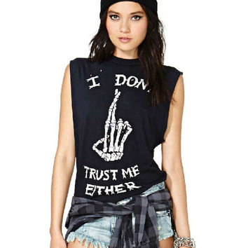 Black Bone Finger Print Sleeveless Graphic Tee