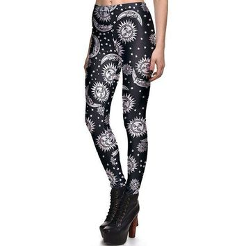 MDIG4F New 3869 Sexy Girl Slim Ninth Pants SpellBound ouija witchcraft Sun Printed Stretch Fitness Women Leggings Plus Size