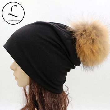 CREYCI7 GZHILOVINGL 2016 Spring Winter Thin Ladies Womens Solid Color Skullies And Beanies Ins Hot Slouch Womens Beanie Fur Pom Pom Hats