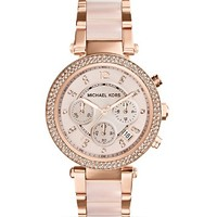Michael Kors Blush Acetate and Rose Gold Tone Parker Glitz Watch, 39mm