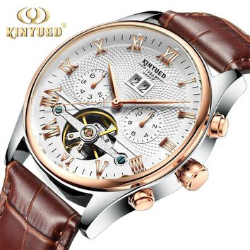 Kinyued Real Mechanical Watch Men Automatic Winding Tourbillon Hand Watches Skeleton Male Leather Strap Waterproof Wristwatch