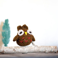 Soft toy amigurumi owl - night owl. Home decor, book shelf decoration. Red orange and brown.
