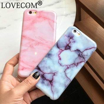 New Wine Red Pink Marble Soft TPU Case For iPhone 7 For iPhone 6 6S 7 Plus Stylish Cute Unique Phone Cover Cases Girls Coque
