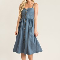 Roxanne Blue Button Midi Dress