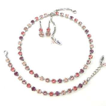 SWEET SURRENDER 6mm Swarovski crystal jewelry set, select your pieces, vintage rose, peach, Siggy bling