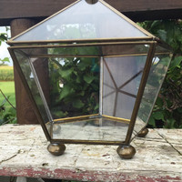 Vintage brass and glass display box, metal and glass display case, geometric shape polygon, vintage brass terrarium box, succulent glass box