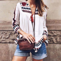 Boho Tops Blouse Summer Autumn Women Clothes Tops Vintage Floral Loose Shawl Cardigan