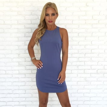 Full Control Bodycon Dress In Dusty Blue