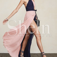 Pink Navy Halter Color Block Maxi Dress -SheIn(Sheinside)