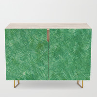 Bright green swirls doodles Credenza by savousepate