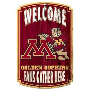 "MINNESOTA GOLDEN GOPHERS WELCOME FAN GATHER HERE WOOD SIGN 11""X17'' NEW WINCRAFT"