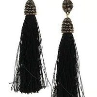 Black Cotton Tassel Earrings