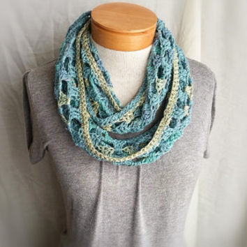 Spring  green teal turquoise lime cowl scarf  multi  crochet linen cotton  blend   loop wrap shrug
