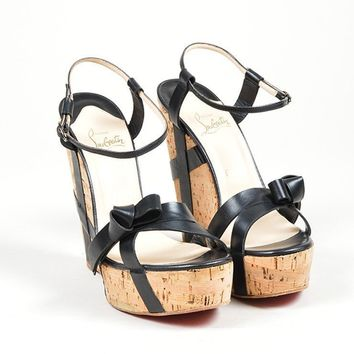 DCCK Black Christian Louboutin Leather  Miss Cristo 140  Cork Wedge Sandals