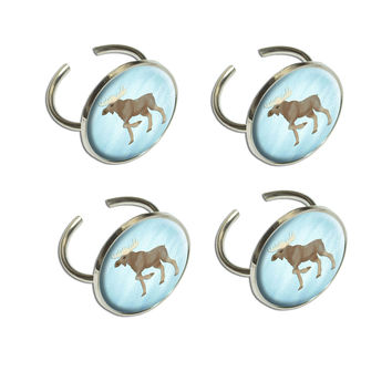 Moose in Pastel Napkin Ring Set