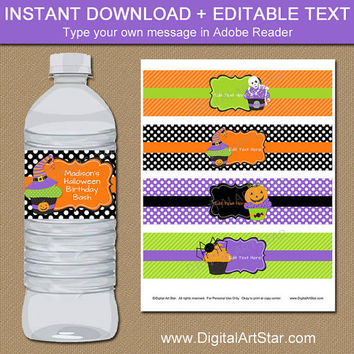 Halloween BIRTHDAY Water Bottle Labels, EDITABLE Halloween Drink Labels, Kids Halloween Birthday Party Favors, Printable Halloween Decor HC