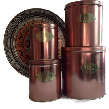Vintage Kitchen Copper Canister Set Ballonoff Made in USA Set of 4 Retro Kitchen Storage Home Decor Nesting Canister Set