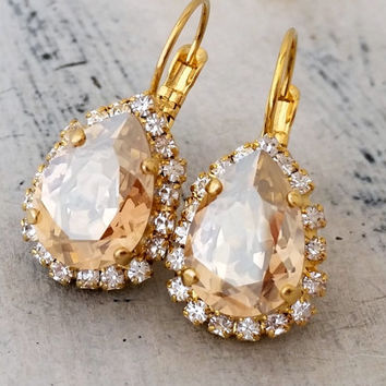 Champagne crystal drop earrings, Swarovski crystal teardrop earrings, Dangle earrings, Bridal earrings, Bridesmaids gift, Gold or silver