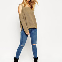 Off Shoulder Strappy Loose Sweater