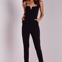 Missguided - Strappy Tapered Leg Jumpsuit Black
