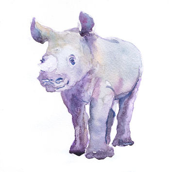 Baby Rhino Art, Watercolor Painting, Baby Boy Nursery Decor, Girl, Rhinoceros Print, Wall art, Safari, Gift ideas, Animal Prints Watercolour