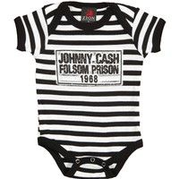 Johnny Cash Boys' Folsom Stripes Bodysuit Black