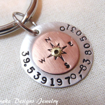 gps coordinates keychain sterling silver Latitude longitude key chain  gps coordinates gift