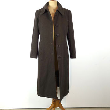 Vintage 1970s Fendi original authentic Italian designer midi length brown diagonal cord wool coat