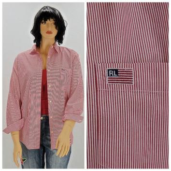 Vintage 80s Polo Ralph Lauren striped cotton oxford shirt M / L, 1980s Polo preppy lon