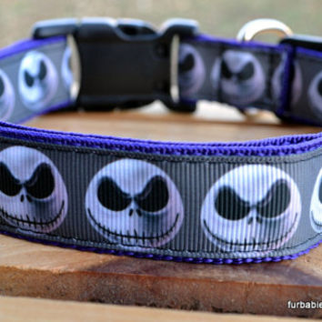 Adjustable dog collar. Jack Skellington nightmare before christmas on purple webbing. Choose your size.
