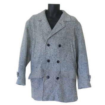 Vintage Men Coat Men Peacoat Pea Coat Men Double Breasted Men Winter Coat Gray Tweed Coat Men Tweed Coat Men Wool Car Coat 80s Coat