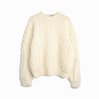 Vintage Cable Knit Wool Fisherman Sweater in Cream - men's large