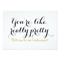 Custom will you be my bridesmaid funny wedding 5x7 paper invitation card