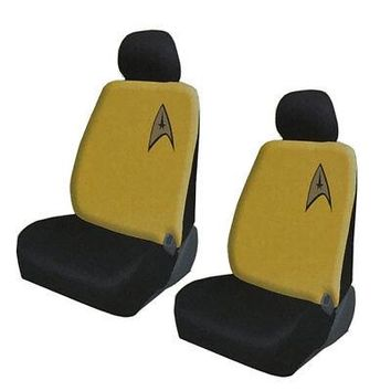 Licensed Official New Star Trek Delta Command Yellow Car Truck 2 Front Seat Covers Headrest Covers