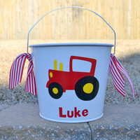 Personalized red tractor bucket