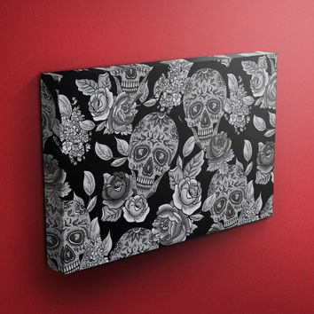 Sugar Skull Wall Art, Sugar Skull & Rose Wrapped Canvas, 3 Sizes to Choose from