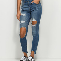 Empyre Drea High-Rise Ripped Med Wash Jeggings | Zumiez
