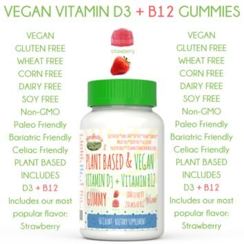 VEGAN VITAMIN D3 + B12 Gummy- Strawberry (Plant Based, Vegan & Paleo) 1-2 Month Supply